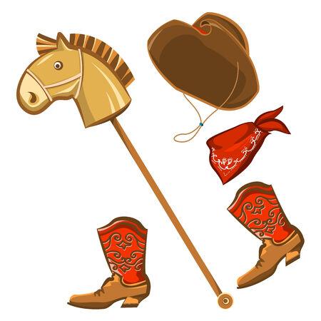 botas vaqueras: Vector juguete del caballo y del vaquero ropa del ni�o aislado en blanco para el dise�o