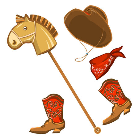 cowboy boots: Vector toy horse and cowboy child clothes isolated on white for design