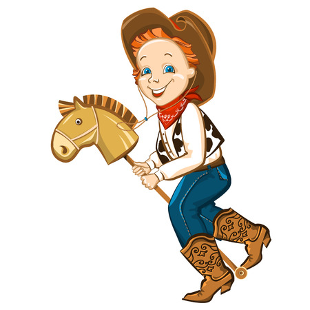 cowboy boots: cowboy kid in western clothes and toy horse.Vector happy boy illustration
