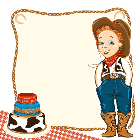 wrangler: Cowboy happy child in western traditional clothes and holiday cake.Vector background for text