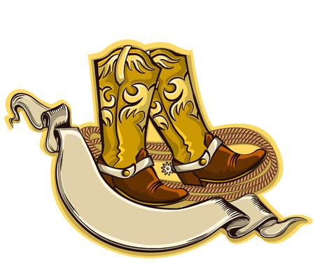 botas vaqueras: Wild fondo vaquero del oeste con desplazamiento de texto y boots.Vector s�mbolo de la ilustraci�n aislado en blanco