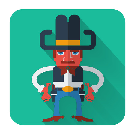 gunfighter: Cowboy with guns.Vector icon of flat design style illustration