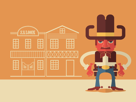 shootout: Cowboy with guns.Vector flat design style illustration Illustration