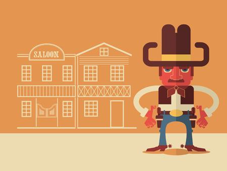 gunfighter: Cowboy with guns.Vector flat design style illustration Illustration