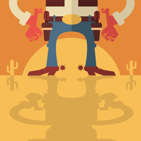 shootout: Cowboy with guns.Vector flat design style background