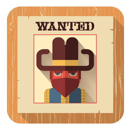wanted: Wanted poster with bandit face.Vector icon of flat design style illustration Illustration