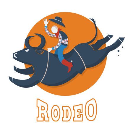 bull fight: Rodeo symbol illustration.Man riding a bull  flat style