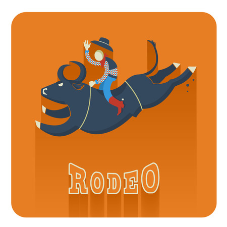 bull fight: Rodeo symbol.Man riding a bull  flat style of illustration