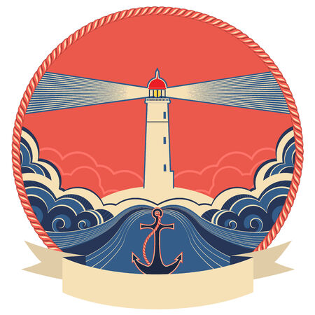 Lighthouse label with anchor and rope frame.Vector illustration for text Vector