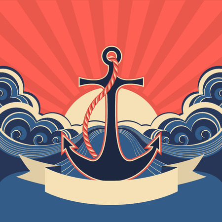 scroll wheel: Nautical label with anchor and blue sea waves.Vector illustration for text