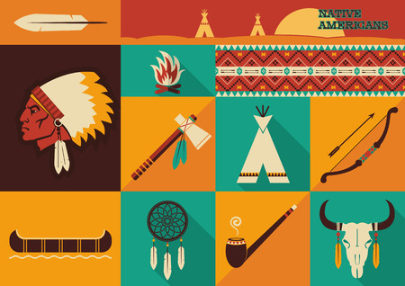 indian buffalo: American indian set of icons.Vector illustration of flat design style Illustration