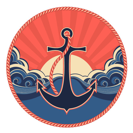 Nautical label with anchor and abstract sea waves.Vector illustration  Illustration