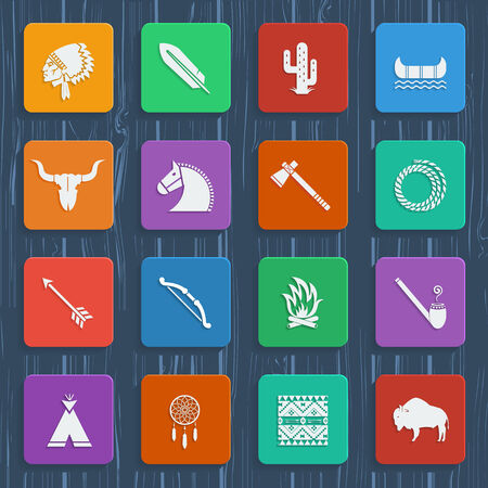 indian buffalo: American native pictograms.Vector icons in flat style design