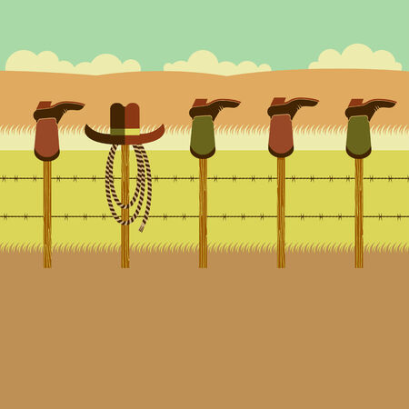 fence post: Cowboy boots on fence post.Vector illustration of flat design style Illustration