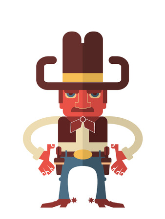 shootout: Cowboy with guns.Vector flat design style illustration isolated on white Illustration