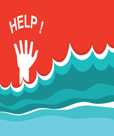 Hand of drowning poster. Vector illustration of sea background