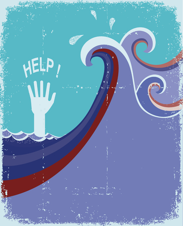 hand of drowning in blue sea waves.Vector illustration on old paper texture