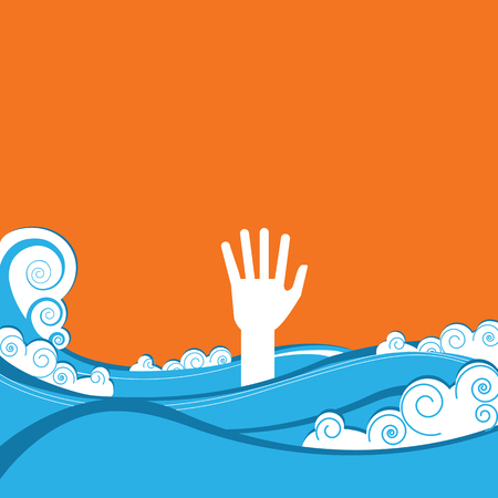 drowning: hand of drowning in blue sea waves.Vector illustration