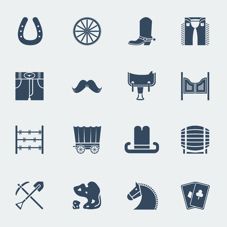 western culture: Cowboy icons. Vector western pictograms in flat style design isolated on white Illustration