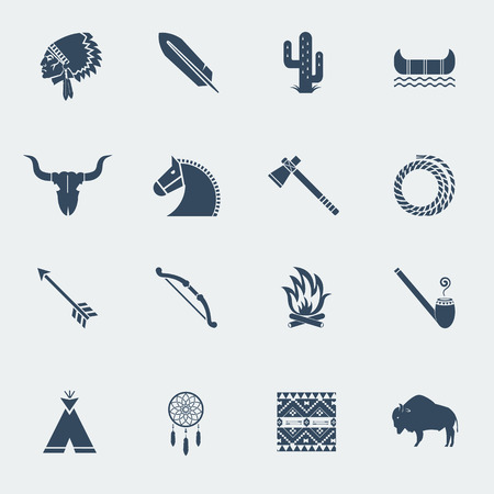 american indian: American native pictograms isolated on white.Vector icons in flat style design Illustration
