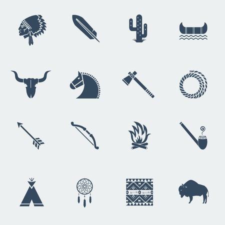 indio americano: Pictogramas nativos americanos aislados en los iconos white.Vector en el diseño de estilo plano Vectores