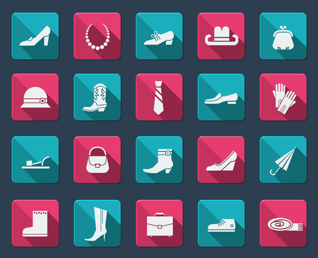 Fashion shoes and accessories.Vector flat icons Vector
