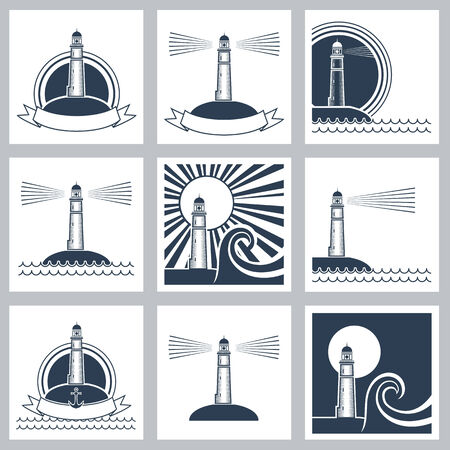 beacons: Set of Lighthouse icons.Vector symbols
