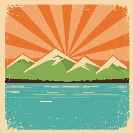 vintage mountains horizon. Vector