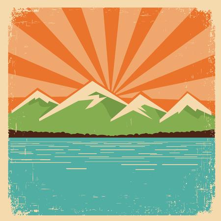 lake sunset: vintage mountains horizon. Illustration