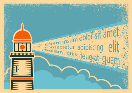 Poster with Lighthouse for text. Vector