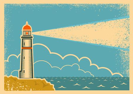 灯台とビンテージ ポスター。