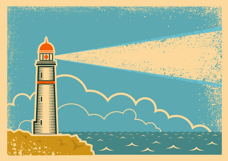 vintage wave: Vintage Poster with Lighthouse.