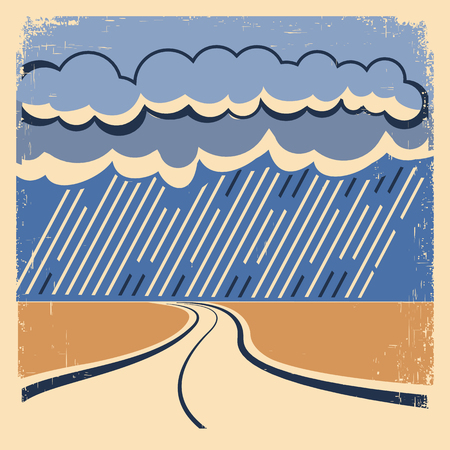 raining background: Rain Vintage poster.