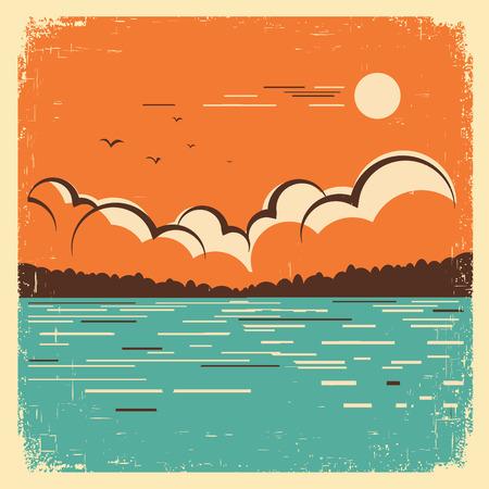 古い紙の質感の青い湖自然風景。ベクトル ビンテージ ポスター