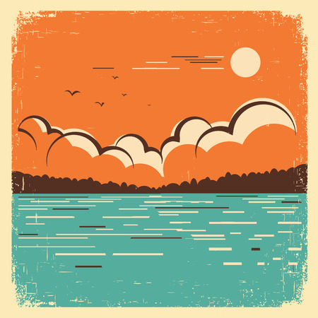 retro sunrise: blue lake nature landscape on old paper texture.Vector vintage poster Illustration