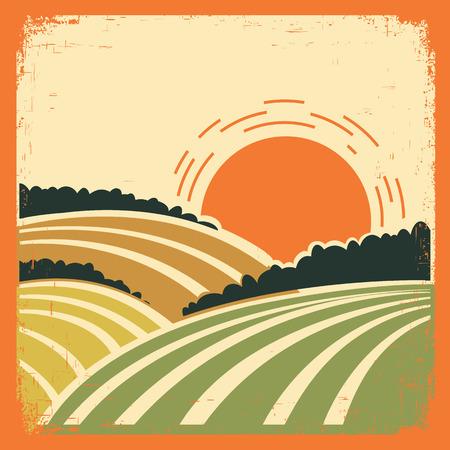 illustrazione sole: Paesaggio d'epoca con campi sul vecchio papertexture.Vector poster a colori