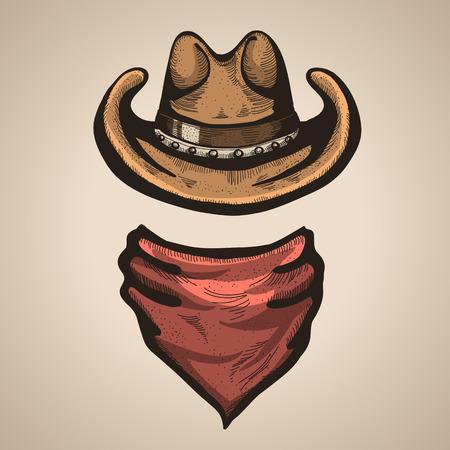 Cowboy hat and bandana scarf.