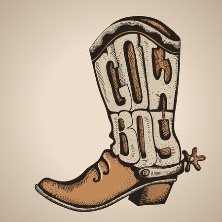 Bota de vaquero occidental con el texto.
