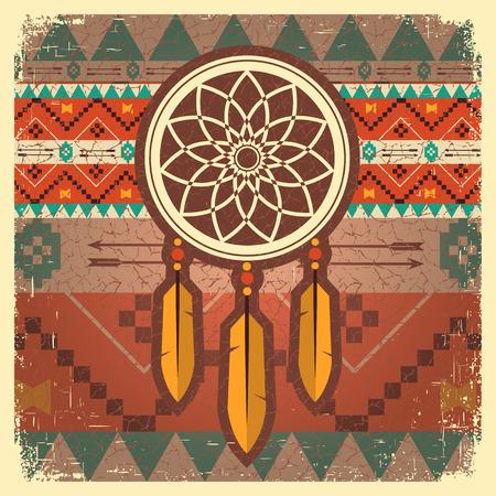 民族飾り夢キャッチャー カード。ネイティブ アメリカン図
