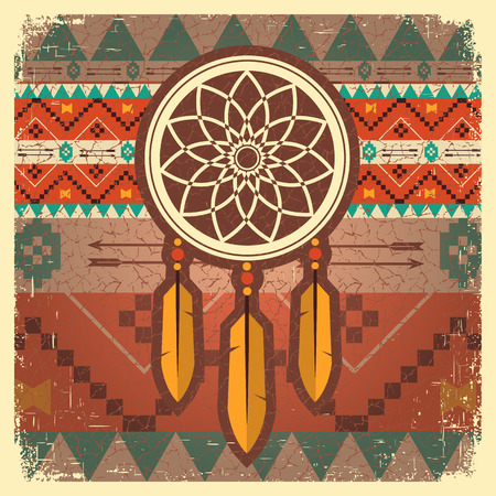 dream catcher card with ethnic ornament.Native american indian illustration