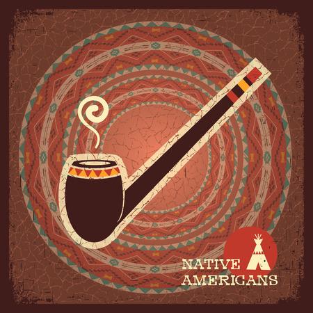 pijp roken: Native American Indian rokende pijp op oud papier textuur