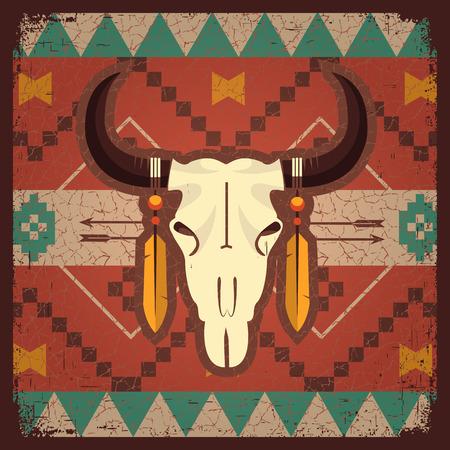Vector schedel stier met etnische ornament op oude texture.Native indian illustratie