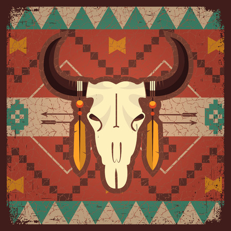 indian buffalo: Vector skull bull with ethnic ornament on old texture.Native indian illustration