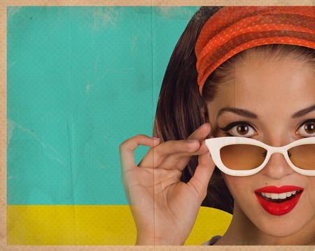pretty woman face: Retro pretty woman face with white sunglasses.Stylized background on old paper texture