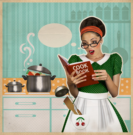 young beautiful woman cooks in the kitchen.Retro style collage on old paper