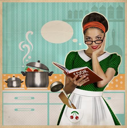 cocineros: La mujer joven cocina en el cartel del estilo kitchen.Retro en el papel viejo para el diseño