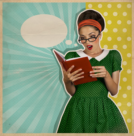 本と驚く若いきれいな女性。レトロ ポスター