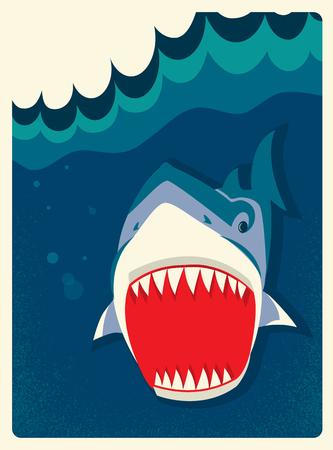 shark teeth: Danger Shark in the water.Vector illustration of wild life Illustration