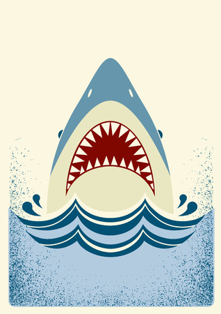 Shark jaws.Vector color background illustration for text Vettoriali