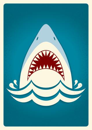 サメの顎。ベクトル青背景イラスト本文